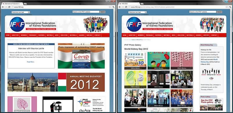 website van International Federation of Kidney Foundation IFKF gemaakt door othersites webdesign bureau Amsterdam