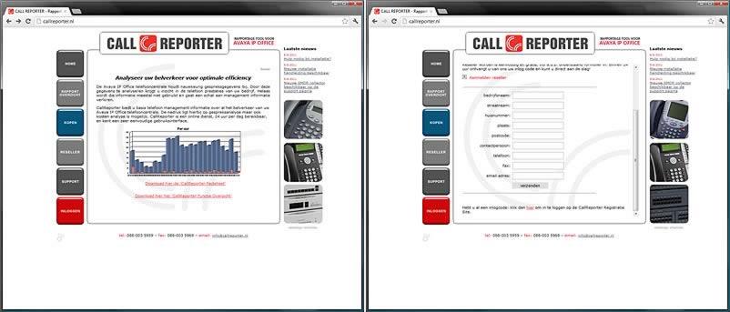 website van Callreporter gemaakt door webdesignbureau Amsterdam othersites