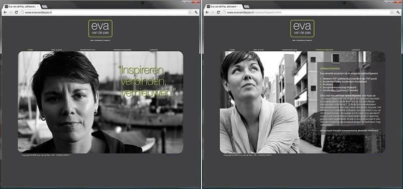 website van Eva van de Pas gemaakt door webdesignbedrijf Amsterdam othersites