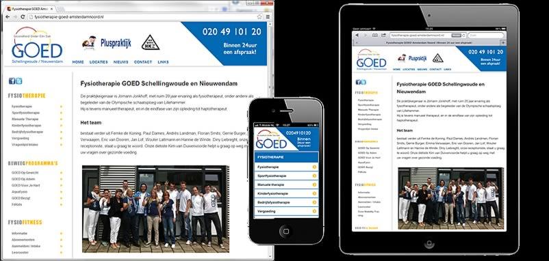 website van GOED Fysiotherapie gemaakt door webdesign bedrijf Amsterdam othersites