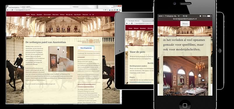 website van levenpaardenmuseum.nl, de hollandsche manage gemaakt door othersites webdesign amsterdam