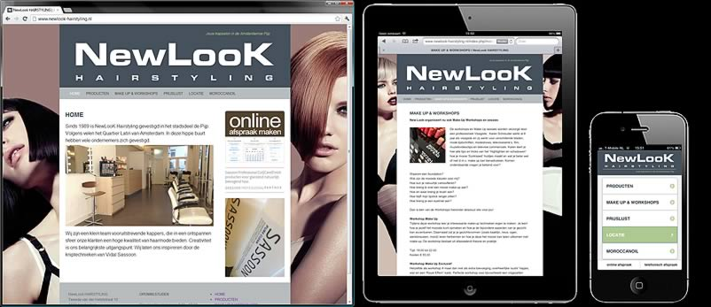 website van Newlook Hairstyling gemaakt door webdesignbureau Amsterdam othersites