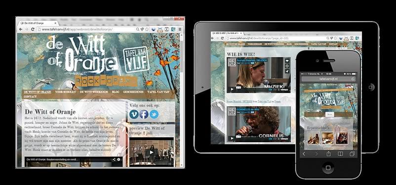 website van dewittoforanje.nl, tafel van vijf gemaakt door webdesign bureau amsterdam othersites