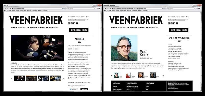 website van Veenfabriek gemaakt door othersites webdesign bureau Amsterdam