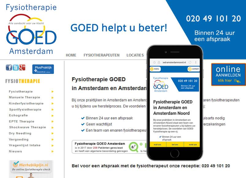 Fysiotherapie Goed Amsterdam door webdesign bedrijf Amsterdam othersites