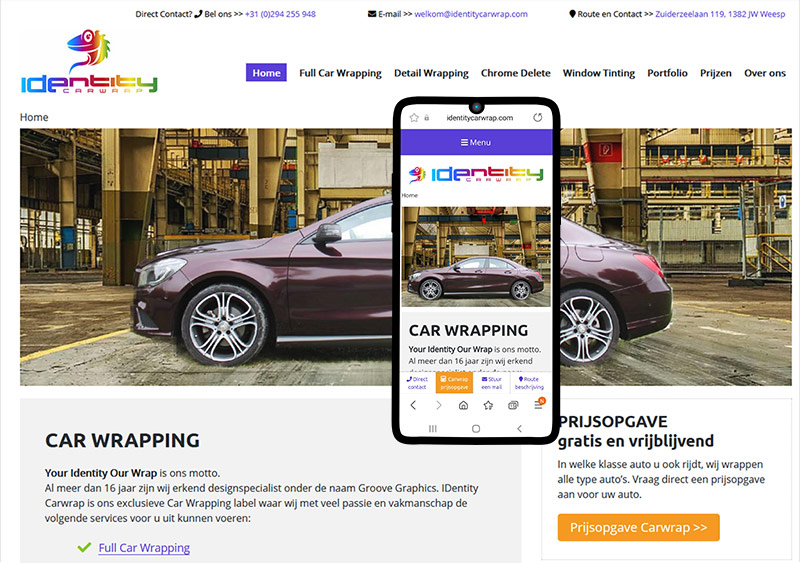 webdesign voorbeeld othersites identity carwrap weesp